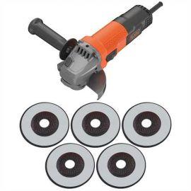 Smerigliatrice Angolare 750W + 5 Dischi - Black+Decker